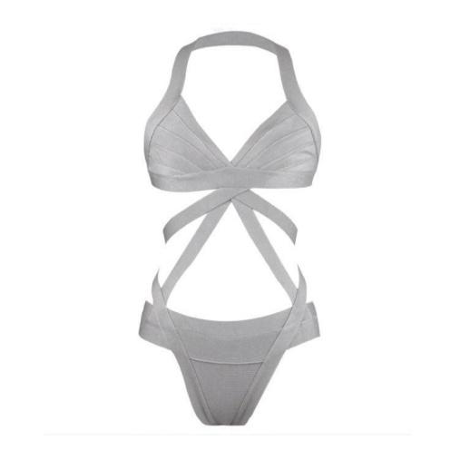 Badeanzug-Monokini-Bandage-grau